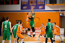 Jure Besedic of KK Helios Suns and Jordan Morgan of KK Petrol Olimpija Ljubljana during basketball match between KK Helios Suns and KK Petrol Olimpija in Playoffs of Liga Nova KBM 2017/18, on March 26, 2018 in Hala Kominalnega Centra, Domzale, Slovenia. Photo by Urban Urbanc / Sportida