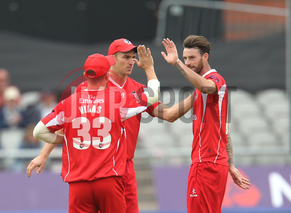 Ryan McLaren of Lancashire Lightning (C) celebrates catching out Cameron Steel of Durham Jets (Not Pictured) - Mandatory by-line: Jack Phillips/JMP - 23/07/2017 - CRICKET - Emirates Old Trafford - Manchester, United Kingdom - Lancashire Lightning v Durham Jets - Natwest T20 Blast