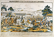 Napoleon at the Battle of Lutzen, 2 May 1813. Napoleon forced the Prussian and Russian forces  to retreat but, with an inexperienced army and a lack of cavalry, he was unable to pursue the enemy. Popular French hand-coloured woodcut.