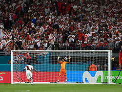 March 23, 2018 - Miami Gardens, Florida, USA - Peru goalkeeper Carlos Cáceda (12) stops a ball during a FIFA World Cup 2018 preparation match between the Peru National Soccer Team and the Croatia National Soccer Team at the Hard Rock Stadium in Miami Gardens, Florida. (Credit Image: © Mario Houben via ZUMA Wire)