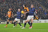 Adama Diomande of Hull City heads towards goal  during the Sky Bet Championship match between Hull City and Bolton Wanderers at the KC Stadium, Kingston upon Hull, England on 12 December 2015. Photo by Ian Lyall.