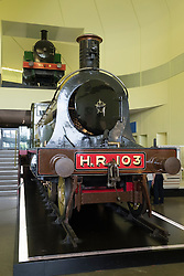Large steam locomotives on display at the Riverside museum of transport in Glasgow, Scotland, united Kingdom