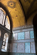 Detail of window and marble panels at Hagia Sophia, Ayasofya Muzesi mosque museum Sultanahmet, Istanbul, Turkey