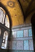 Detail of window and marble panels at Hagia Sophia, Ayasofya Muzesi mosque museum Sultanahmet, Istanbul, Turkey