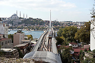 A metro train on the Golden Horn Metro Bridge approaches the Haliç station, which is located on the M2 line of the Istanbul Metro in Istanbul, Turkey. The  bridge connects the districts of Fatih and Beyoğlu.