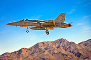 F-18 Super Hornet on short final at Nellis Air Force Base, Nevada.  March, 2010.