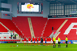 Rotherham United players pay tribute to the fallen during a minute silence - Mandatory by-line: Ryan Crockett/JMP - 07/11/2020 - FOOTBALL - Aesseal New York Stadium - Rotherham, England - Rotherham United v Preston North End - Sky Bet Championship