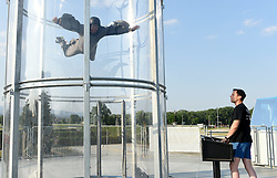 THEMENBILD - Ein Mann schwebt am 16. Juni 2015 im Vertikalwindtunnel der Brüder Denis und Igor Vugrek in Zagreb, Kroatien. // Brothers Denis and Igor Vugrek set a vertical wind tunnel that simulates the free fall. Zagreb, Croatia on 16th June 2015 EXPA Pictures © 2015, PhotoCredit: EXPA/ Pixsell/ Davor Visnjic<br /> <br /> *****ATTENTION - for AUT, SLO, SUI, SWE, ITA, FRA only*****