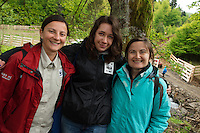 WWF Romania staff at the release of European bison, Bison bonasus, in the Tarcu mountains nature reserve, Natura 2000 area, Southern Carpathians, Romania. The release was actioned by Rewilding Europe and WWF Romania in May 2014.
