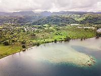 Aerial view of Tahiti coast, French Polynesia.