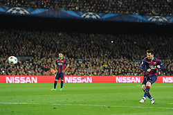 Barcelona's Lionel Messi takes a shot at goal. - Photo mandatory by-line: Dougie Allward/JMP - Mobile: 07966 386802 - 18/03/2015 - SPORT - Football - Barcelona - Nou Camp - Barcelona v Manchester City - UEFA Champions League - Round 16 - Second Leg