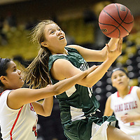021114  Adron Gardner/Independent<br /> <br /> Tuba City Warrior Shawntae Chee (12), right, attempts a layup ahead of Page Sand Devil Natasha Henry (4) in Chinle Tuesday.