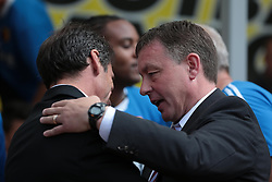 Watford's Manager, Gianfranco Zola and Nottingham Forest's Manager, Billy Davies   - Photo mandatory by-line: Nigel Pitts-Drake/JMP - Tel: Mobile: 07966 386802 25/08/2013 - SPORT - FOOTBALL -Vicarage Road Stadium - Watford -  Watford v Nottingham Forest - Sky Bet Championship