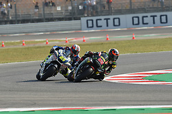 September 7, 2018 - Rimini, Italy - 55 Malaysian driver Hafizh Syahrin of Team Yamaha Tech 3 and and  23 French driver Ponsson Christophe of team Reale Avintia Racing driving durin free practice in Misano World Circuit Marco Simoncelli in Misano Adriatico for San Marino and Riviera di Rimini GP  (Credit Image: © Andrea Diodato/NurPhoto/ZUMA Press)
