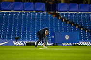 Sports Commentator Gary Lineker does a piece to a BBC helicopter camera and drops his notes before the The FA Cup match between Chelsea and Manchester United at Stamford Bridge, London, England on 18 February 2019.