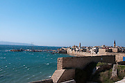 Israel, Western Galilee, A view of the harbour from the fortified walls of the old City of Acre
