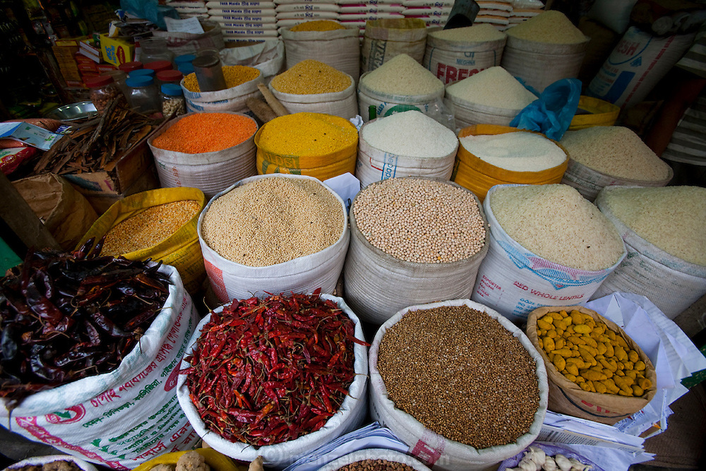 Vegetables, grains and other farm products are displayed for sale at the Santinagar  market in Dhaka, Bangladesh. The sprawling market is a major source of income for subsistence farmers and in the surrounding areas.