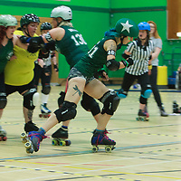 Manchester Roller Derby's Checkerbroads take on Liverpool'l Sisters of Mersey in the 2017 British Champs Women's Tier 2 North Final at Castle Leisure Centre, Bury, Lancashire, United Kingdom, 2017-08-05