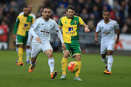 Leon Britton (l) of Swansea city in action.Barclays Premier league match, Swansea city v Norwich city at the Liberty Stadium in Swansea, South Wales  on Saturday 5th March 2016.<br /> pic by  Andrew Orchard, Andrew Orchard sports photography.
