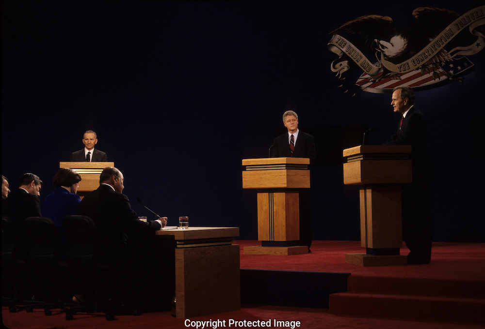 President H.W. Bush, candidates Bill Clinton and Ross Perot at the first presidential debate of the 1992 election...Photograph by Dennis Brack bb24