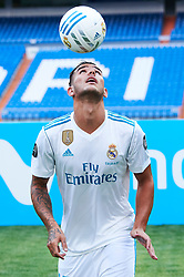 French defender Theo Hernandez signs up to play for Real Madrid. He was introduced into the team during an event held at Santiago Bernabeu stadium in Madrid, Spain. Theo Hernandez has signed for the next six seasons. 10 Jul 2017 Pictured: Theo Hernandez. Photo credit: Jack G / MEGA TheMegaAgency.com +1 888 505 6342