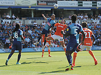 Blackpool's John O'Sullivan vies for possession with Wycombe Wanderers' Randell Williams<br /> <br /> Photographer Kevin Barnes/CameraSport<br /> <br /> The EFL Sky Bet League One - Wycombe Wanderers v Blackpool - Saturday 4th August 2018 - Adams Park - Wycombe<br /> <br /> World Copyright © 2018 CameraSport. All rights reserved. 43 Linden Ave. Countesthorpe. Leicester. England. LE8 5PG - Tel: +44 (0) 116 277 4147 - admin@camerasport.com - www.camerasport.com