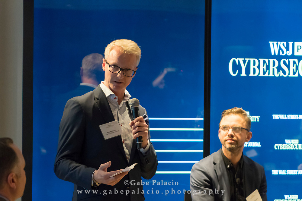 Will Wilkinson introduces The WSJpro Cybersecurity event in New York City on December 12, 2017. (photo by Gabe Palacio)