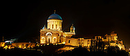 Exterior of the Neo Classical Esztergom Basilica at night , Cathedral ( Esztergomi Bazilika ), Hungary. .<br /> <br /> Visit our HUNGARY HISTORIC PLACES PHOTO COLLECTIONS for more photos to download or buy as wall art prints https://funkystock.photoshelter.com/gallery-collection/Pictures-Images-of-Hungary-Photos-of-Hungarian-Historic-Landmark-Sites/C0000Te8AnPgxjRg .<br /> <br /> Visit our EARLY MODERN ERA HISTORICAL PLACES PHOTO COLLECTIONS for more photos to buy as wall art prints https://funkystock.photoshelter.com/gallery-collection/Modern-Era-Historic-Places-Art-Artefact-Antiquities-Picture-Images-of/C00002pOjgcLacqI