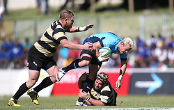 Tian Schoeman of the Blue Bulls is tackled by SP Wessels of Boland during the Currie Cup premier division match between the Boland Cavaliers and The Blue Bulls held at Boland Stadium, Wellington, South Africa on the 23rd September 2016<br /> <br /> Photo by:   Shaun Roy/ Real Time Images