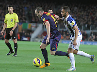 06.01.2013 Barcelona, Spain. La Liga day 18. Picture show Andres Iniesta in action during game between FC Barcelona against RCD Espanyol at Camp Nou