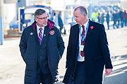 Craig Levein, manager of Heart of Midlothian arrives for the Betfred League Cup semi-final match between Heart of Midlothian FC and Celtic FC at the BT Murrayfield Stadium, Edinburgh, Scotland on 28 October 2018.