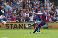 Dwight Gayle of Crystal Palace takes a free kick to score his sides 2nd goal to make it 2-1. Barclays Premier League match, Crystal Palace v Stoke City at Selhurst Park in London on Saturday 7th May 2016. pic by John Patrick Fletcher, Andrew Orchard sports photography.