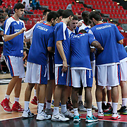Anadolu Efes's players during their Turkey Cup First Leg match Anadolu Efes between Darussafaka Dogus at Kadir Has Arena in Kayseri Turkey on Monday 06 October 2014. Photo by Aykut AKICI/TURKPIX