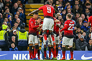 Goal 0-1 Manchester United Midfielder Ander Herrera (21) scores a goal and celebrates during the The FA Cup match between Chelsea and Manchester United at Stamford Bridge, London, England on 18 February 2019.