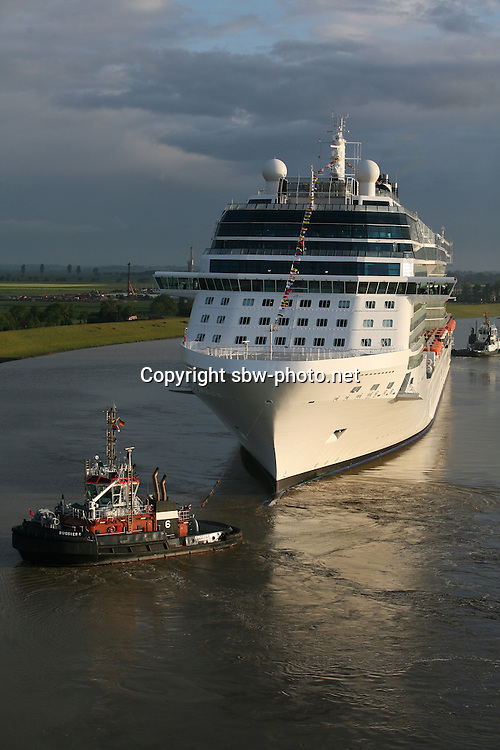 Celebrity Equinox, a brand new cruise ship belonging to Celebrity Cruises, during her river conveyance down the River Emms in Germany from the shipyard where she was built to the open sea..