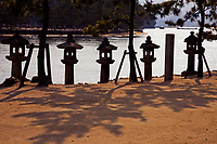 """Miyajima Island is the home of Itsukushima Shrine which was constructed over water so that humans would not """"pollute"""" the sacred island.  It was built in this way because of this.  Today many ferries carry traffic between the island and the mainland especially onto Hiroshima.  Because the island is still considered sacred trees may not be cut for lumber."""