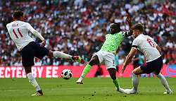 England's (left-right) Dele Alli, Nigeria's Victor Moses and England's Gary Cahill battle for the ball during the International Friendly match at Wembley Stadium, London.