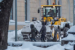 February 4, 2018 - Moscow, Russia - February 4, 2018. - Russia, Moscow. - The heaviest snowfall of the century hit Moscow over the weekend, with a total of 1.2 mln cubic meters of snow having been removed from the citys streets in the past 24 hours. From Saturday morning to 21:00 Moscow time (18:00 GMT) on Sunday, 38 centimeters of snow had covered Moscow, which was more than what the entire month of February normally gets. In picture: Chistoprudny Boulevard after a heavy snowfall. (Credit Image: © Russian Look via ZUMA Wire)