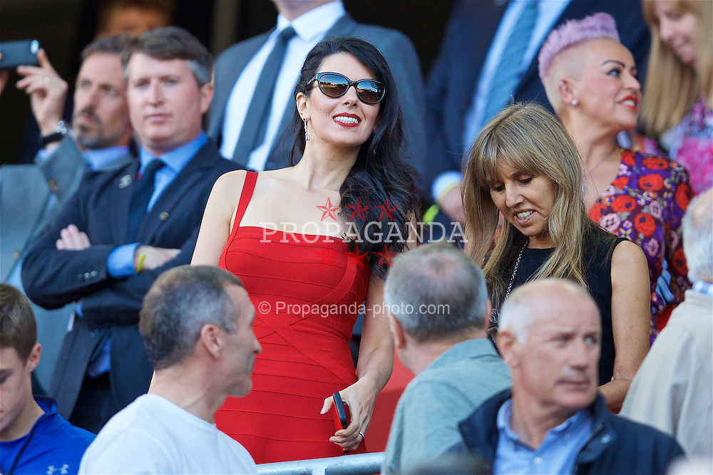 LIVERPOOL, ENGLAND - Saturday, September 10, 2016: Liverpool's Linda Pizzuti, wife of owner John W. Henry, in a red dress during the FA Premier League match against Leicester City at Anfield. (Pic by David Rawcliffe/Propaganda)