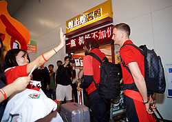 NANNING, CHINA - Monday, March 19, 2018: Wales' Andy King arrives at Nanning International Airport for the 2018 Gree China Cup International Football Championship. (Pic by David Rawcliffe/Propaganda)