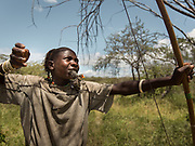 Kapala hunting bird and using the chick to attract the mother. At the Hadza camp of Dedauko.