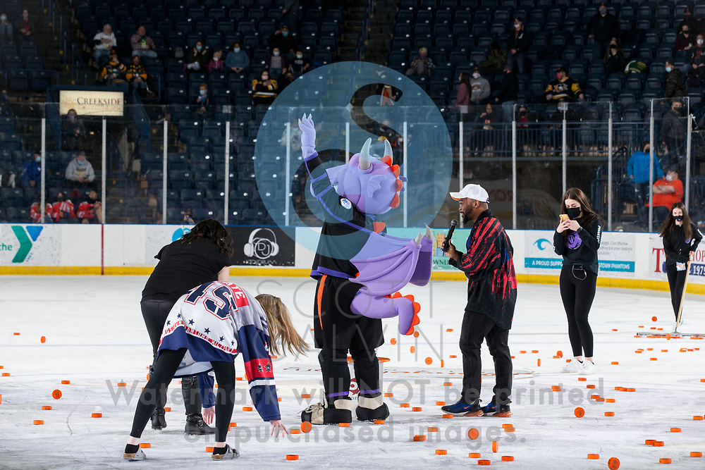 The Youngstown Phantoms lose 5-4 in overtime to the Chicago Steel at the Covelli Centre on February 20, 2021.<br /> <br /> Sparky, mascot; chuck-a-puck