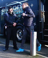 Leicester City's Jamie Vardy steps off the team bus before the FA Cup, third round match at Highbury Stadium, Fleetwood