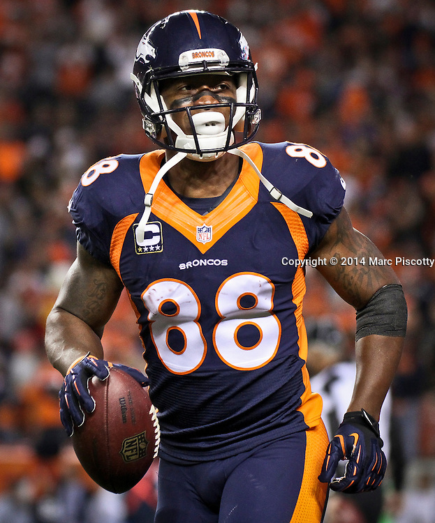 SHOT 10/19/14 7:18:05 PM - Denver Broncos wide receiver Demaryius Thomas #88 celebrates after catching a touchdown against the San Francisco 49ers at Sports Authority Field at Mile High Sunday October 19, 2014 in Denver, Co. The Broncos beat the 49ers 42-17.<br /> (Photo by Marc Piscotty / © 2014)