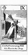 William Lenthall (1591-1662), Speaker of the House of Commons, running away to the Puritan army with the Mace (symbol of Parliamentary authority). After a set of Cavalier (Royalist) playing cards satirising the Puritans.