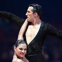 23 January 2010: Maria Ashchepkova and Vladyslav Talybin perform during the Masters Bercy Latin and Ballroom (standard) Dancesport Championship 2010, at Palais Omnisports Paris Bercy, in Paris, France. .