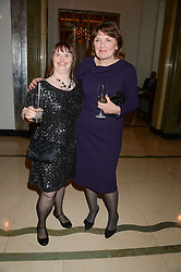 """Left to right, KATIE POWELL and CAROL BOYS Chief Executive of the Down's Syndrome Association at an """"Evening With Damon Hill'  a dinner and talk in aid of the Downs Syndrome Association held at Claridge's, Brook Street, London on 7th November 2013."""