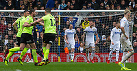 Leeds United players react to conceding <br /> <br /> Photographer Alex Dodd/CameraSport<br /> <br /> The EFL Sky Bet Championship - Leeds United v Sheffield United - Saturday 16th March 2019 - Elland Road - Leeds<br /> <br /> World Copyright © 2019 CameraSport. All rights reserved. 43 Linden Ave. Countesthorpe. Leicester. England. LE8 5PG - Tel: +44 (0) 116 277 4147 - admin@camerasport.com - www.camerasport.com