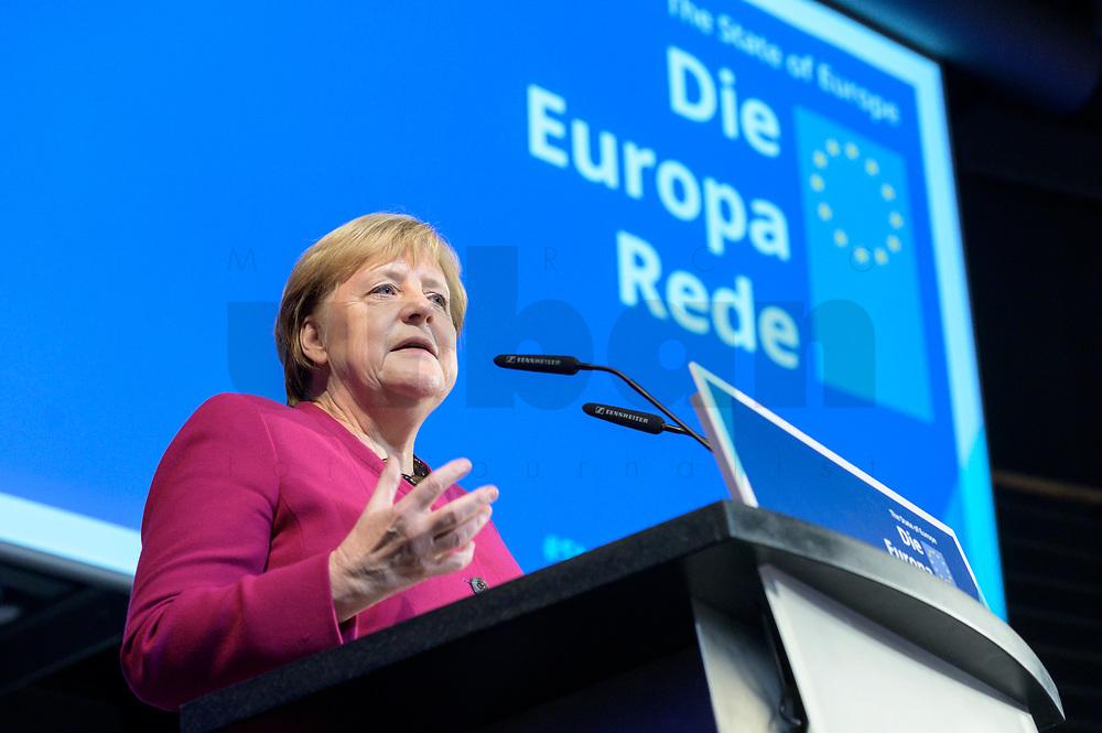 08 NOV 2019, BERLIN/GERMANY:<br /> Angela Merkel, CDU, Bundeskanzlerin, spreicht ein Grusswort vor der Europa Rede von U rsula von der L eyen, gewaehlte EU-Kommissionspräsidentin. Die Europa Rede, ist eine jaehrlich wiederkehrende Stellungnahme der hoechsten Repraesentanten der Europaeischen Union zur Idee und zur Lage Europas, organisiert von der Konrad-Adenauer-Stiftung, der Stiftung Zukunft Berlin und der Stiftung Mercator, Allianz Forum<br /> IMAGE: 20191108-01