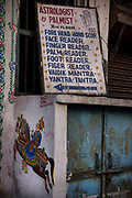 Entrance to a fortune tellers home on the 19th January 2018  in the city of Udaipur, India. Astrology and fortune telling are big business in India. Many Indians regularly consult an astrologer, and even government decisions are swayed by the position of the planets.
